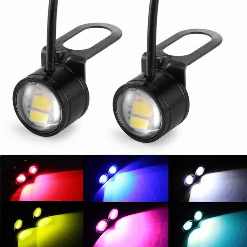 2pcs DC 12V 5W Eagle Eye LED 20mm Hawkeye Reverse Backup Light DRL Daytime Running Light Signal Bulb Fog Lamp for Motorcycle Car