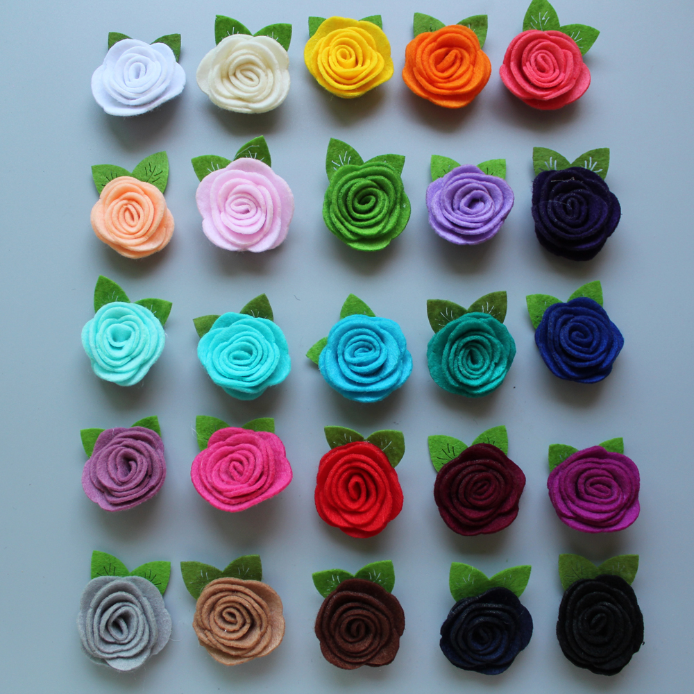 Free Shipping!2017 New 60pcs/lot 25colors Fashion handmade felt rose flower with leaf Diy for hair accessories headband 2016 new wholesale felt rose flower with leaves headband girls hair accessories diy findings