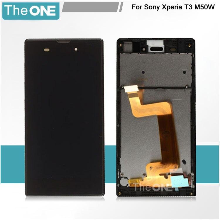 ФОТО LCD For Sony T3 m50w D5102 D5103 D5106 LCD Screen Display +Touch Screen Digitizer + Frame White/Black