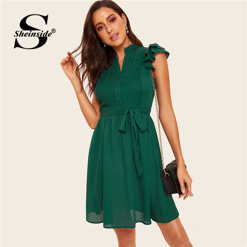 Sheinside зеленое многослойное плиссированное платье на пуговицах спереди с оборками и поясом 2019 V образным вырезом винтажные женские платья женское короткое летнее платье