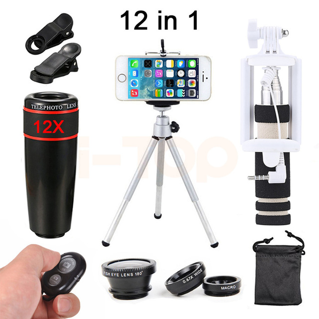 12X Zoom Telephoto Lens Fish eye Wide Angle Macro Lentes Telescope For 4s 5 5s 6 6s 7 Plus Xiaomi With Selfie Stick Clips Tripod