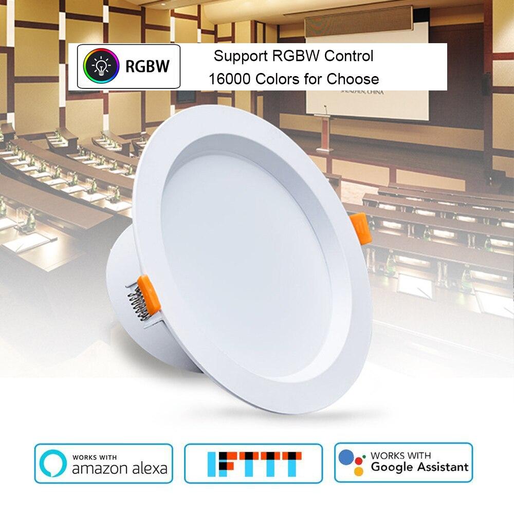 Commande vocale intelligente 4 pouces Downlight WiFi RGBW 10W prise en charge Alexa et Google Home IFTTT automatisation minuterie interrupteur lumière LED de commande