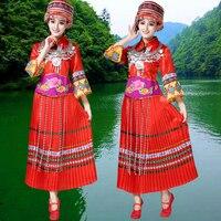 נשים מבוגרים תלבושות ריקוד עממי הסיני בגדי תלבושות במה מיאו מיאו המונג בגדים לא כובע