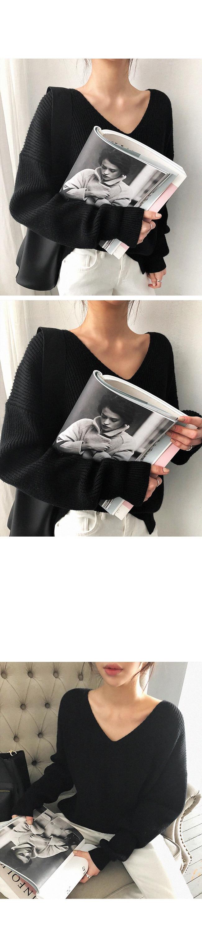 19 Winter Ovreiszed Sweater Women V Neck Black White Sweater Irregular Hen Knitted Tops 26