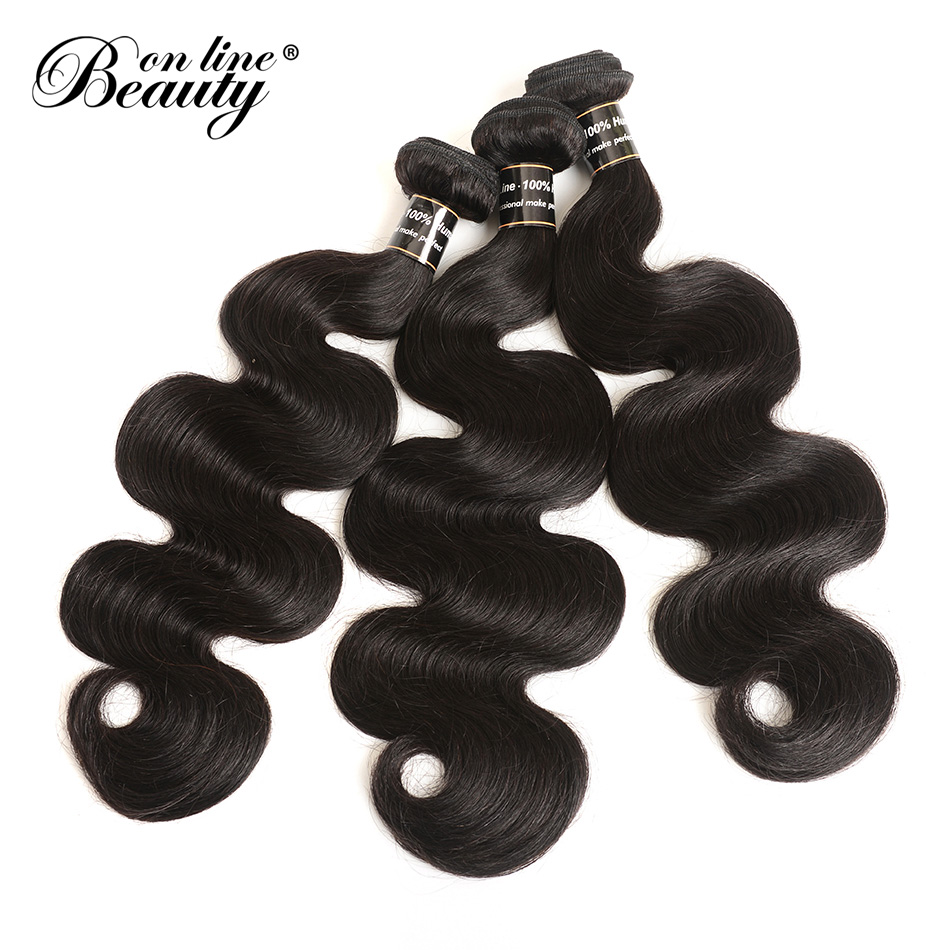 Beauty On Line Brazilian Body Wave Hair 3 Pcs Human Hair Bundles Hair Extention Natural Color 8-28 inch Remy Hair Weave