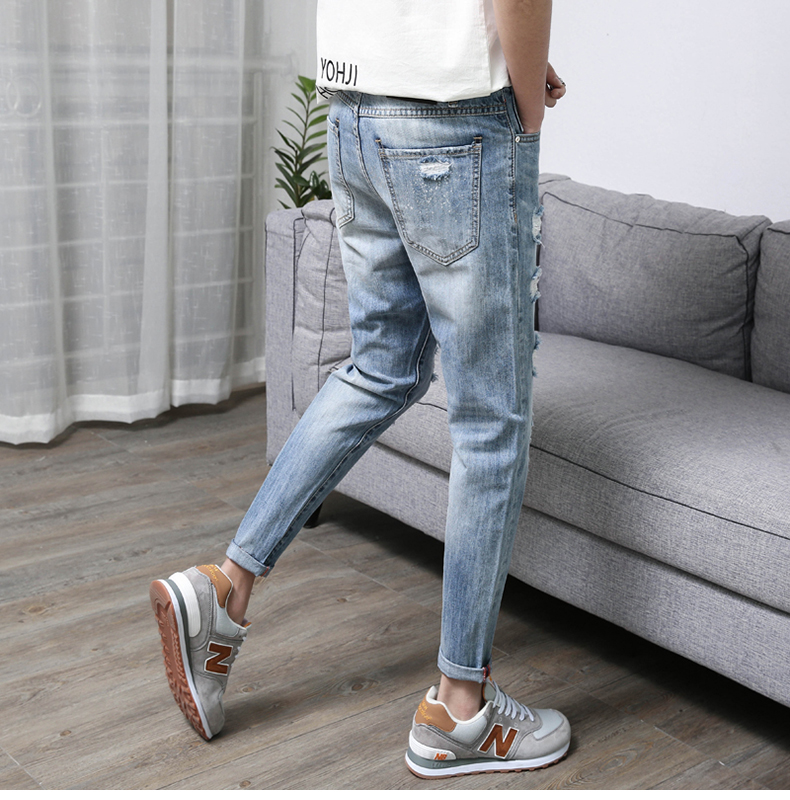 KSTUN Men's Jeans Korean Style Thin Cotton Ripped Distressed Painted Denim Jean Man Jogger Hiphop Broken Jeans Length 90cm-97cm 24