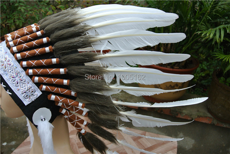 feather Headdress 21inch headdress white color feather hat headpiece headband
