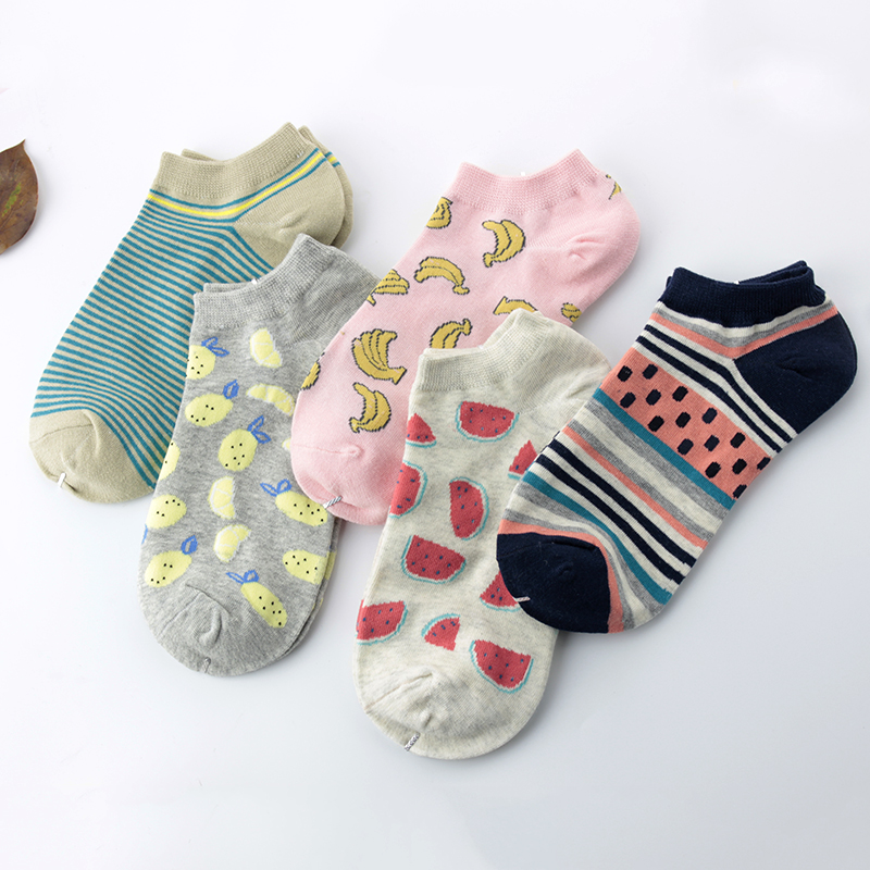 5 Pairs Women Low Cut Cotton Socks Female Cats and Fruit Funny Designs Sox Girls Funny Ankle Sock Spring Summer Breathable Sox