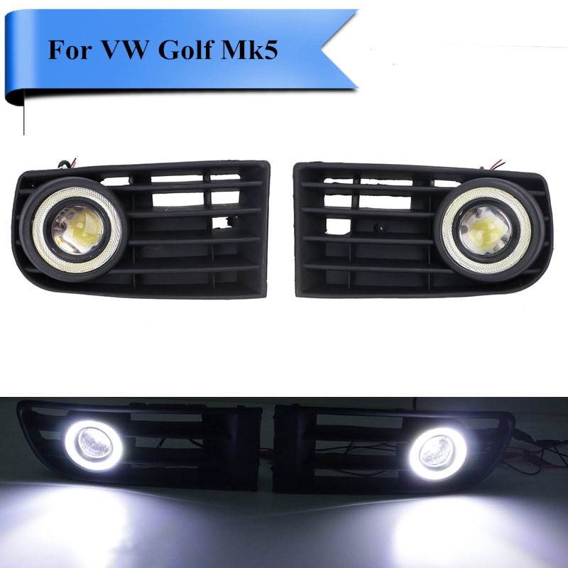 Front Bumper Grille Fog Light with LED Angel Eyes Grill Kit For VW Golf GL GLS GTI TDI Mk5 Rabbit 2003 - 2009 .#P363 free shipping bumper grille grill drl running driving led fog lamp lights for 97 06 vw golf mk4
