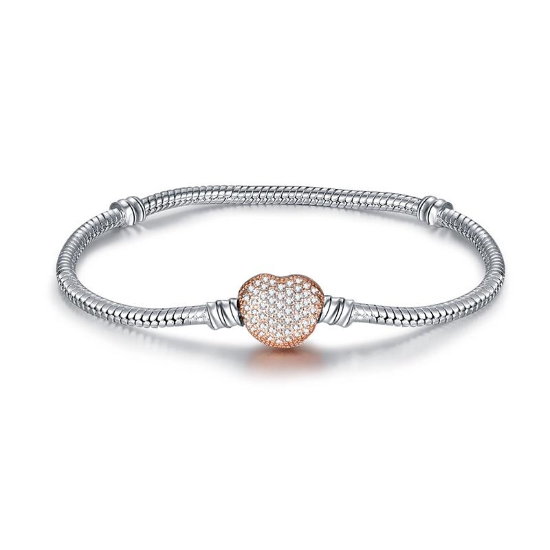 Новинка, браслет с подвеской из розового золота с Микки-Маусом, цепочка со змеей, подходит для Pan, базовые браслеты для модных женщин, бусины, сделай сам, ювелирное изделие - Окраска металла: NSL003-Rose