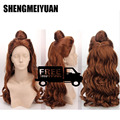 Cosplay wig Beauty And The Beast Cartoon Princess Belle wig Synthetic Long Curly Wig Auburn Brown Cosplay Anime Wig Ponytail