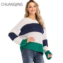 Winter Knitted Sweater Women Casual O-neck Long Sleeve Striped Loose Plus Size Pullovers Sweater Ladies Fashion Sweet Sweater цена в Москве и Питере
