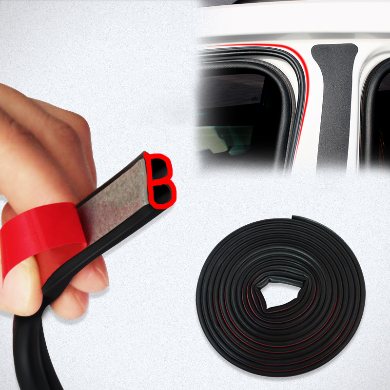 Car-styling Car 4/5/10/16Meter B Type Car Rubber Seal Sound Insulation Weatherstrip Edge Noise Insulation Car Door Sealing Strip