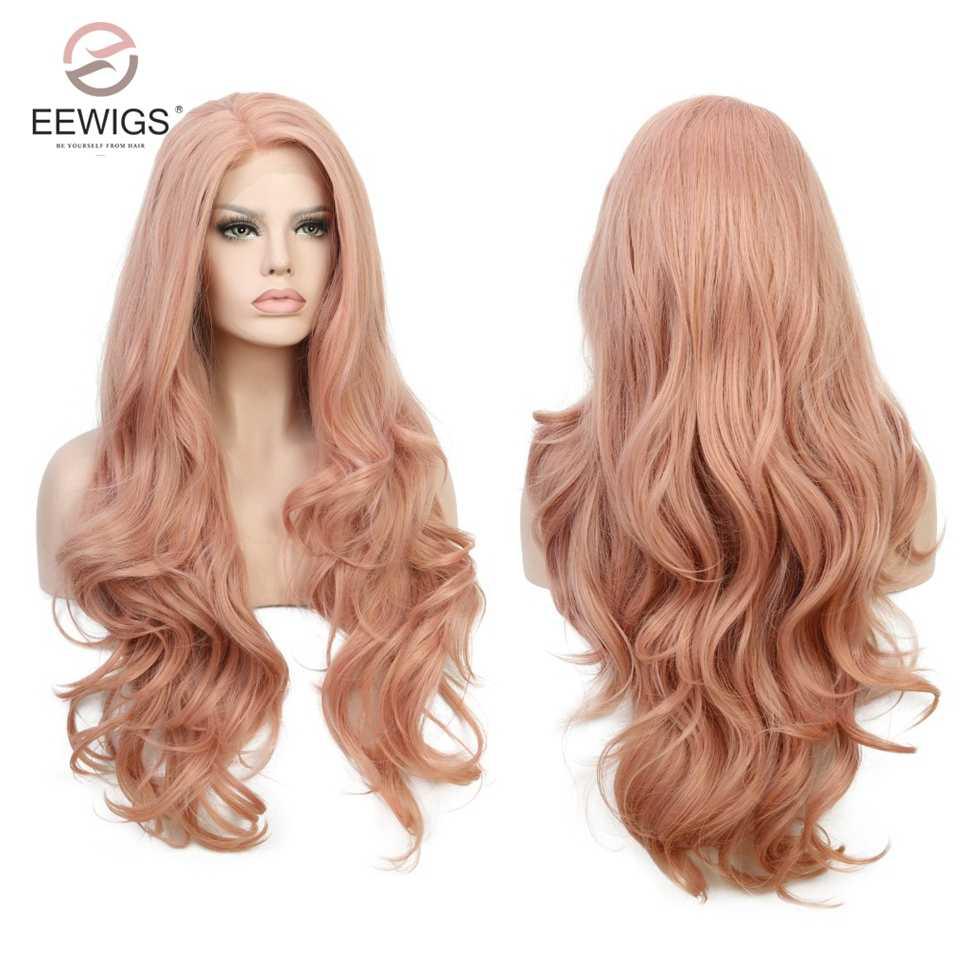 Peluca larga ondulada de Color melocotón de 28 pulgadas peluca frontal de encaje sintético rosa con pelucas naturales sin pegamento para las mujeres negras