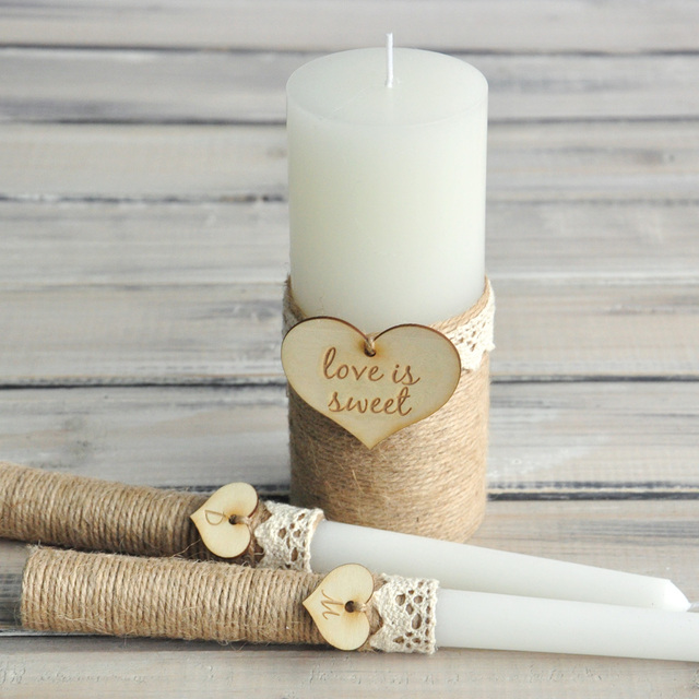 Us 79 98 Burlap Church Ceremony Set Custom Name And Date Candle Set Personalized Wedding Unity Candle Set Rustic Unity Candle In Party Diy