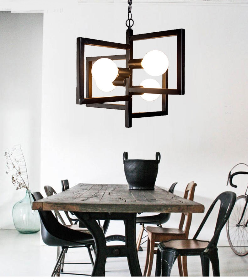 Pendant Lights dining room Korean iron new fashion modern simple pastoral restaurant black and white Pendant lamps modern simple black and white iron tower