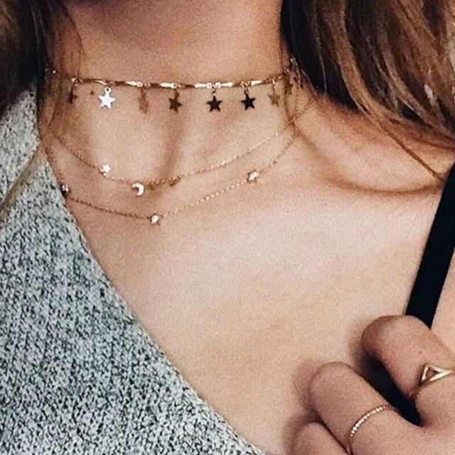 Chocker Boho Gold Color Chain Tiny Star Maxi Choker Necklace for Women Tassel ne