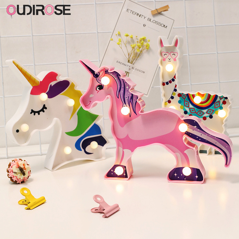 LED Unicorn Mermaid Plastic Night Light Wedding Party DIY