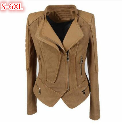 S-6XL Motorcycle   Suede   jacket Women Spring 2018 Short Slim PU Patchwork   Leather   Coat Punk Plus Size Ladies Casual jackets