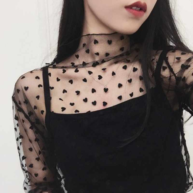 Modetrends Mesh Vrouwen Lange Mouwen Tops Hot Sexy Transparante Hoge Neck Black Lace Dieptepunt Shirts Punk Chic T-shirt YW