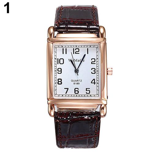 Bluelans Dames Horloges Men Women Fashion Faux Leather Band Square Dial Quartz Analog Wrist Watch Relogios Feminino