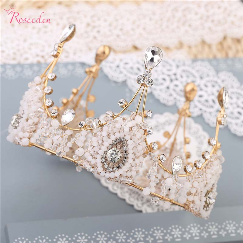 Handmade crystal big size queen tiara crown Elegant Luxurious Bride Crown Headwear Rhinestone Bride fashion Jewelry RE622