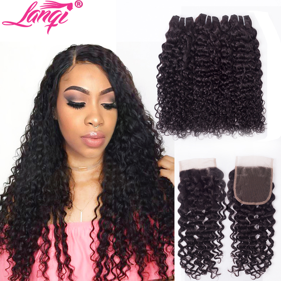 Image 3 - lanqi Peruvian hair bundles with closure nonremy human hair weave bundles with closure Brazilian water wave bundles with closure-in 3/4 Bundles with Closure from Hair Extensions & Wigs