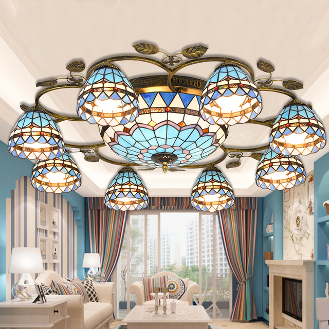 Mediterranean Tiffany Baroque Stained Glass Suspended Luminaire Ceiling Lights Parlor Dining Room Hanging Lighting E27