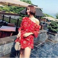 100% Шелковый женский красный комбинезон с цветочным принтом на одно плечо сексуальный комбинезон с оборками