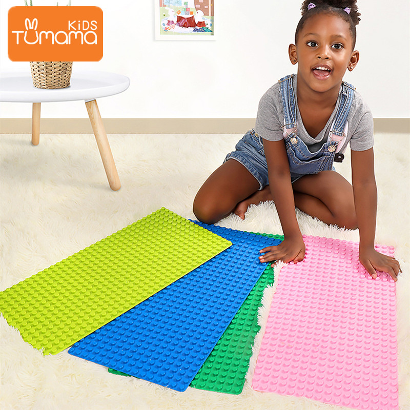 Tumama 6 Colors Big Size Blocks Base Plate Compatible LegoING Duploed Brick 51.2x25.6cm ABS Flexible Baseplate Board For Blocks