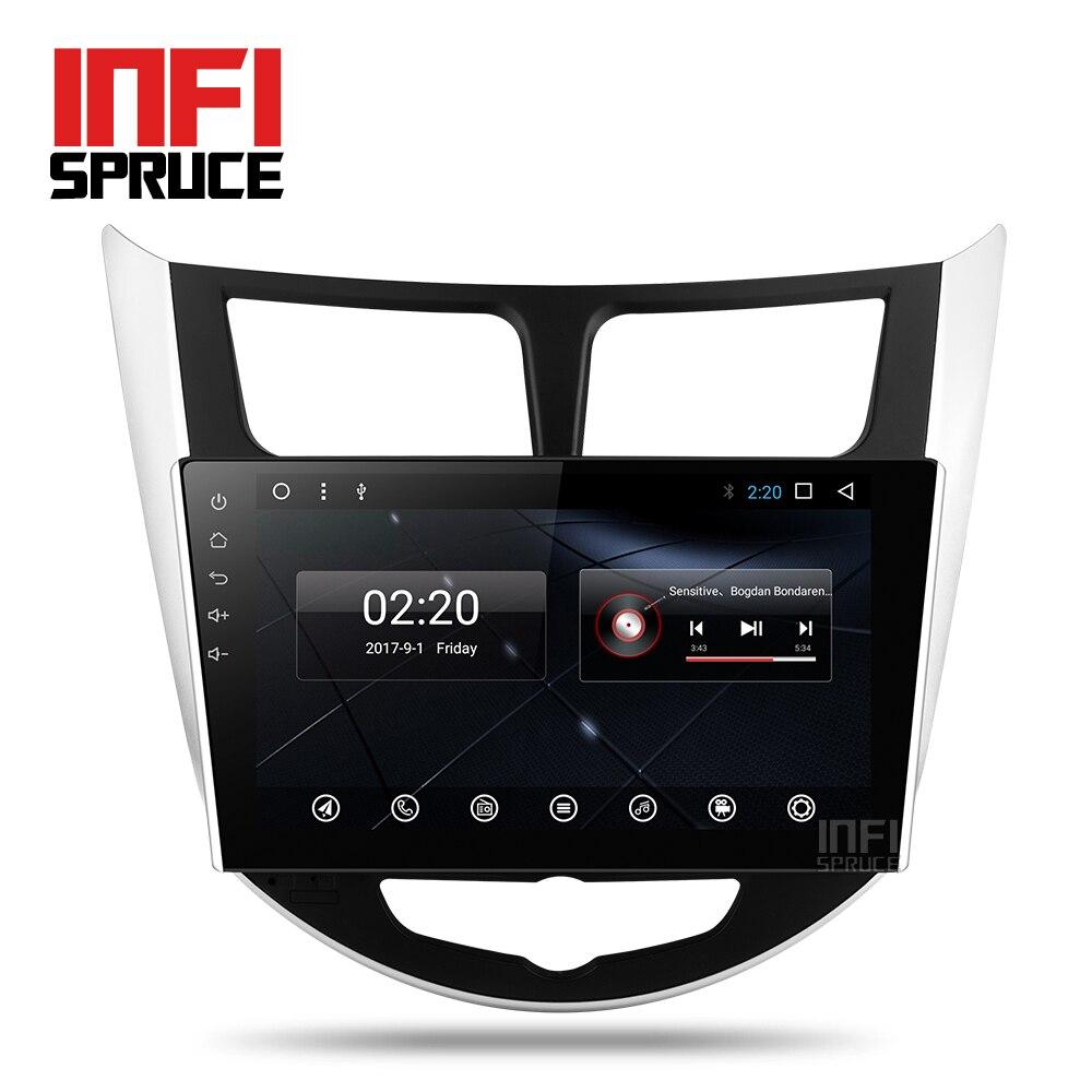 Android 7.1 dvd de voiture pour Hyundai Solaris accent Verna i25 avec gps navigation radio vidéo de voiture stéréo lecteur multimédia