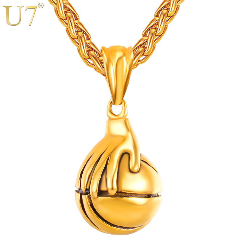 U7 Necklaces I Love Basketball Palm Playing Pendant Rock Hip Hop Stainless Steel Sports Necklace <font><b>Fans</b></font> Men <font><b>Jewelry</b></font> Necklace P1120 image