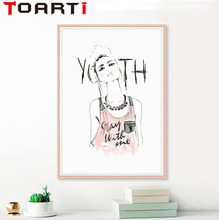 High Quality Fashion Girl Nordic Watercolor Illustration A4 Wall Art Canvas Printing Pictures For Badroom Unframed