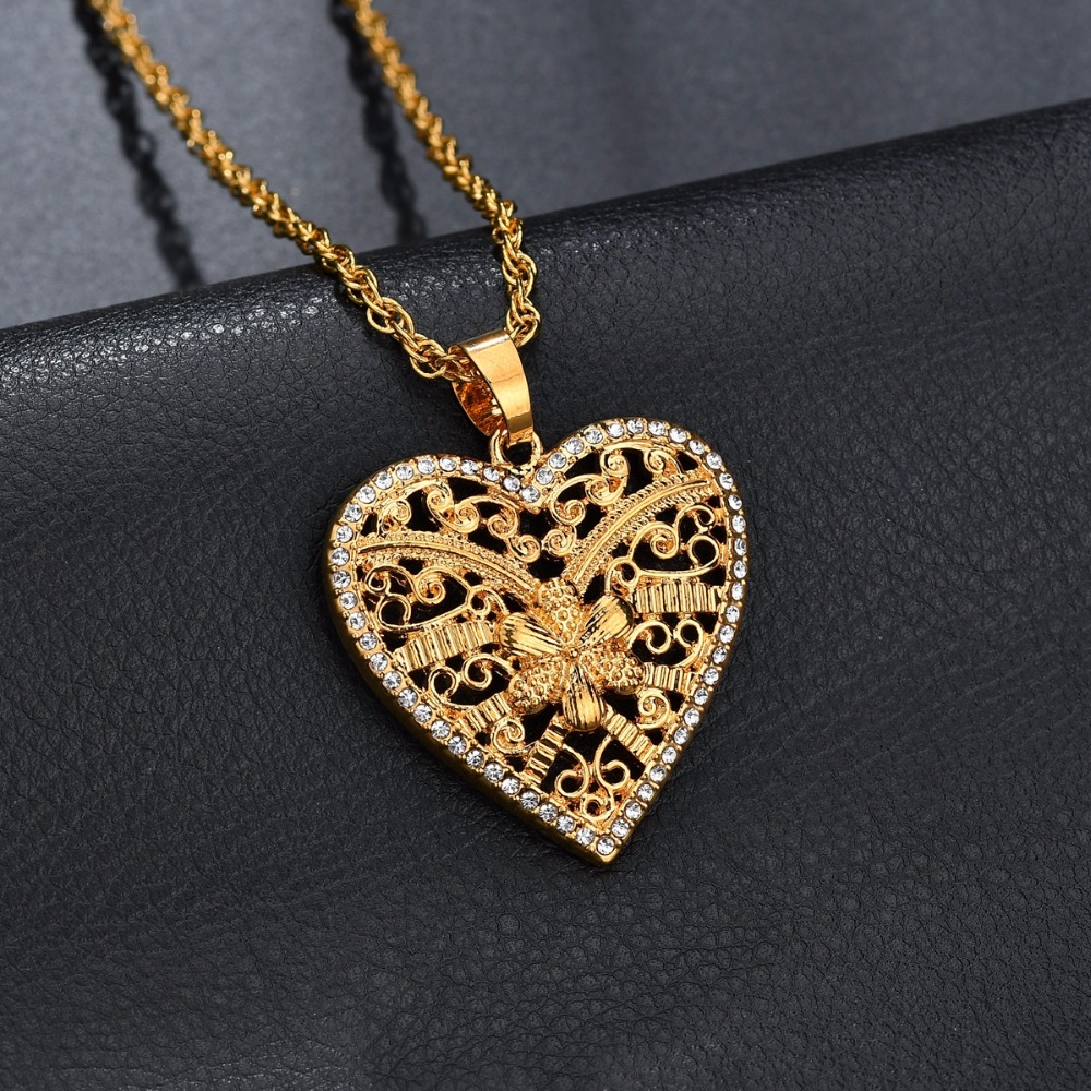 18k GP Rose Gold Plated Love Heart Key Elegant jewelry Pendant Necklaces