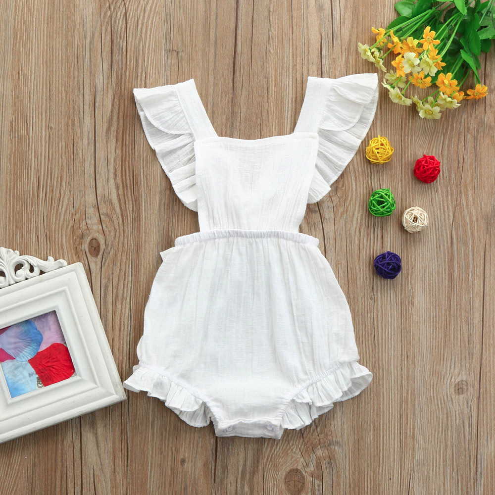 Newborn Baby Girls Ruffles Backless Jumpsuit Outfits Clothes Sleeveless Print Pink White Brown color fashion baby jumpsuit