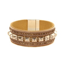 ORNAPEADIA New Hot Jewelry Bohemia bracelet VOGUE recommended style Popular rivet gem Leather Bangles for women gift wholesale