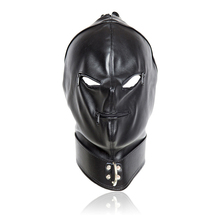 Leather Head Bondage Restraint Mask Open Mouth&Eyes Party Cosplay Mask BDSM Fetish Erotic Toys Bondage Hood Sex Toys For Couples цены