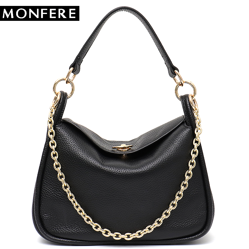 MONFERE Genuine Leather Chain Bags for Women 2018 Luxury Handbags Women Bags Designer Leather Flap ladies Shoulder Messenger Bag new shoulder crossbody bags for women mini chain flap bags genuine leather swallow handbags luxury designer ladies messenger bag