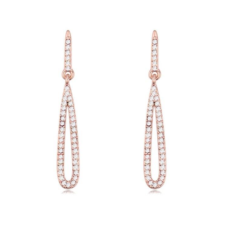 2015 Fashion Long Hanging Earrings Gold Color Austrian Crystal Channel Pendientes Women Bijuteria