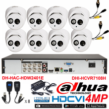Original DAHUA 4MP Waterproof Camera DH-HAC-HDW2401E CVI Dome camera with 4MP Digital CVR DHI-HCVR7108H security camera kit