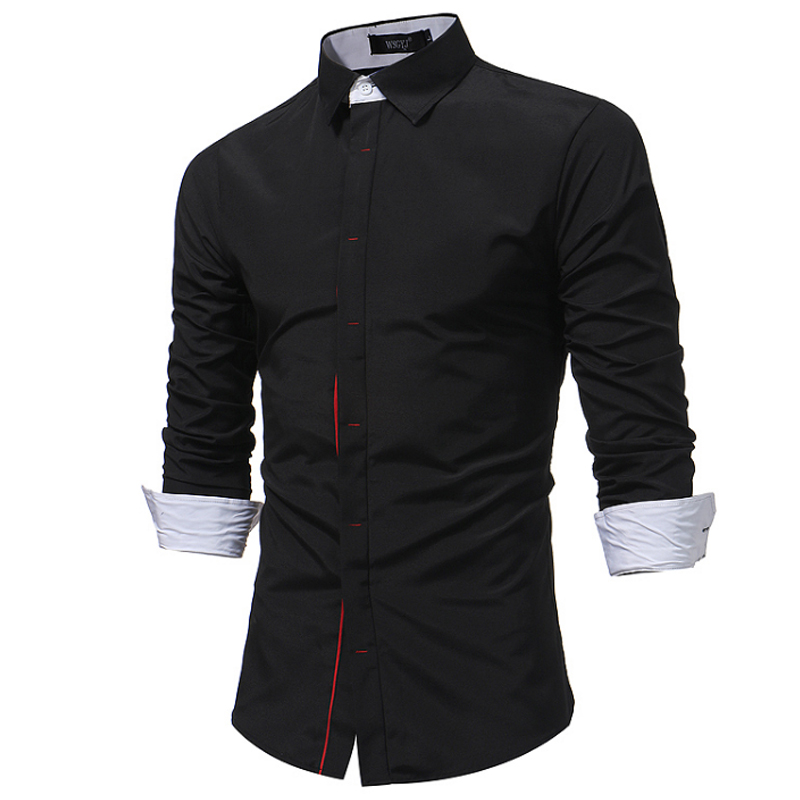 2018 New Men Shirt Spring Long Sleeve Turn-Down Brand Solid Dress Shirts Casual Man Shirts Regular Slim Fit Male Cotton Button