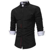 2018 New Men Shirt Spring Long Sleeve Turn Down Brand Solid Dress Shirts Casual Man Shirts