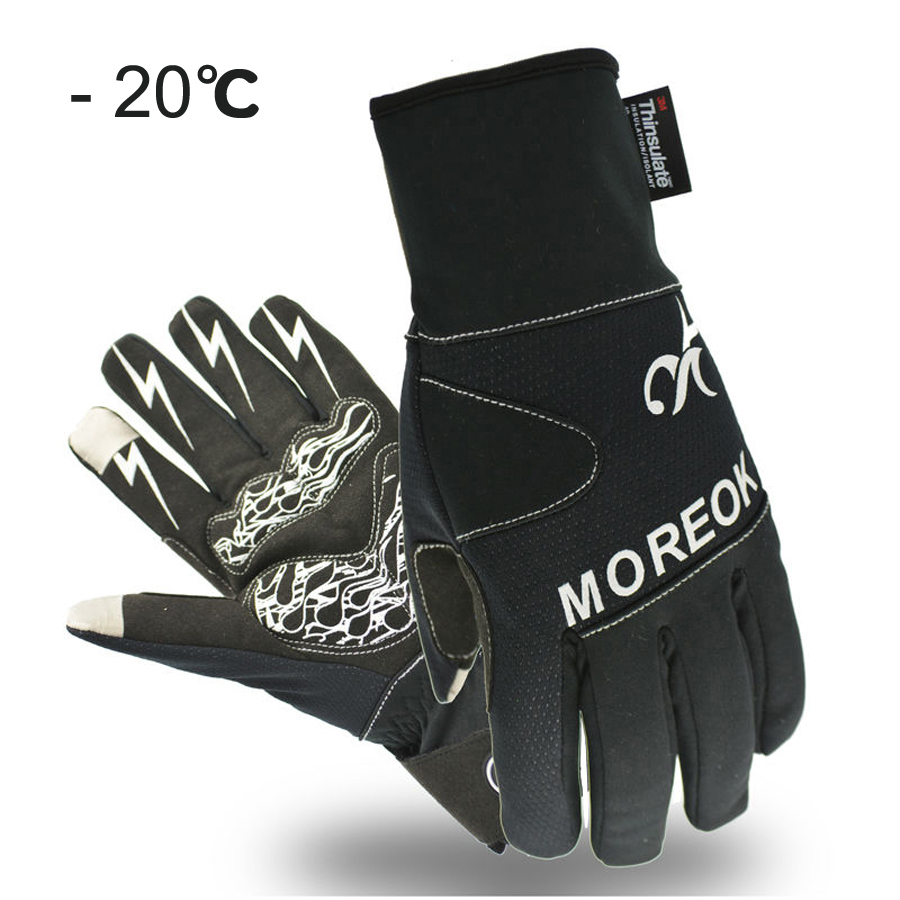 MOREOK Winter <font><b>Cycling</b></font> Gloves Thermal Windproof Warm Fleece Bike Gloves Gel Pads Men Women Anti-slip Water Resistant Cycle Gloves