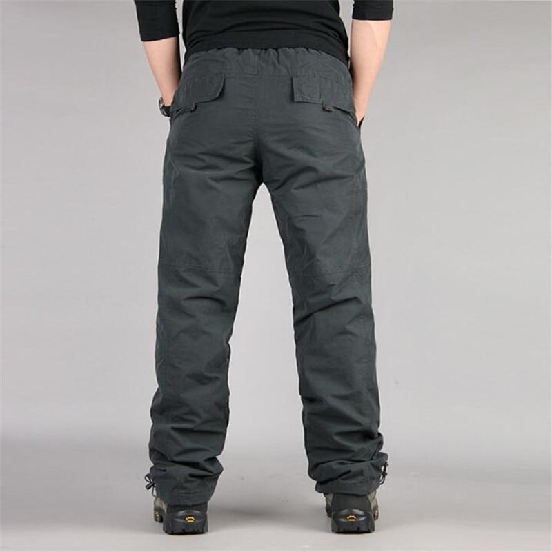Men's Cargo Pants 2019 Winter Casual Warm Thicken Fleece Pants Men Cotton Multi Pockets Combat Military Baggy Tactical Pants 25