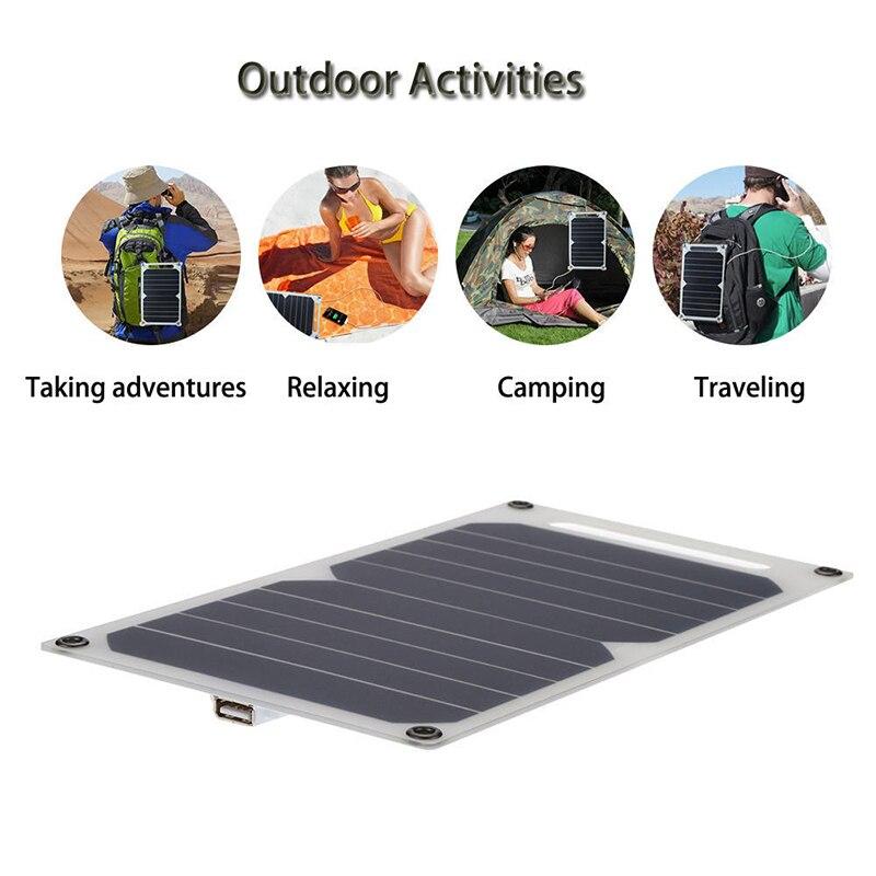6 W 5 V panneau d'alimentation solaire étanche chargeur de batterie de secours externe pour chargeur de batterie de téléphone portable