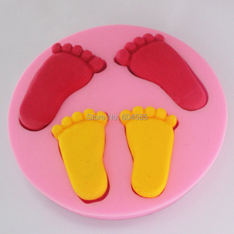 Huella de pie para la fiesta de cumpleaños del bebé pastel fondant moldes de jab