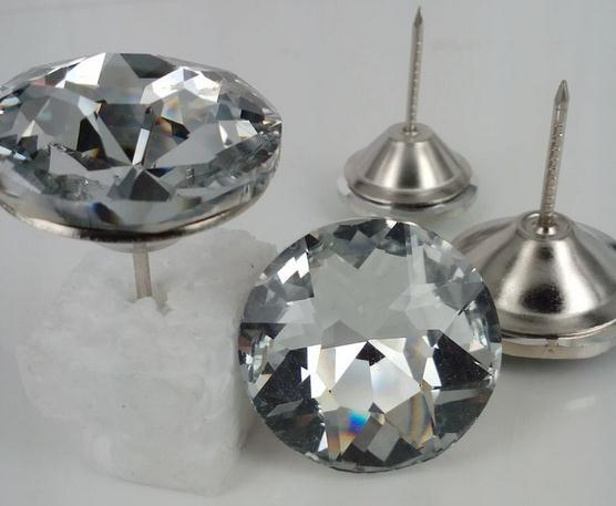 Active Wholesale 25mm Crystal Pin Button Sofa Button 1000pcs/lot Furniture Satellite Drill Nail Crystal Buttons Stone Flower Button Home & Garden