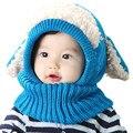 Para 3-36 Meses de Bebê Novo Inverno Chapéu e Lenço Bonito Cão crochê Malha Caps para Meninos Infantis Meninas Miúdos Das Crianças Neck Warmer