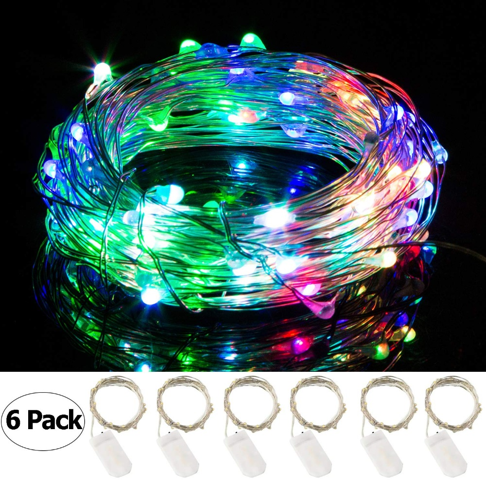6Pack Christmas String Lights Waterproof Copper Wire Fairy Light Decoration Lamp for Home Wedding Operated by CR2032 Battery