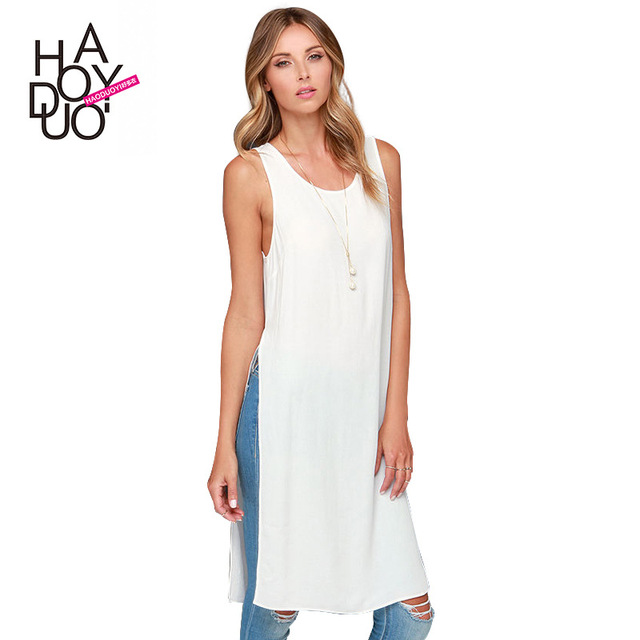 Street Style Long Women T Solid European and American Fashion Hem Splits on Both Sides Loose